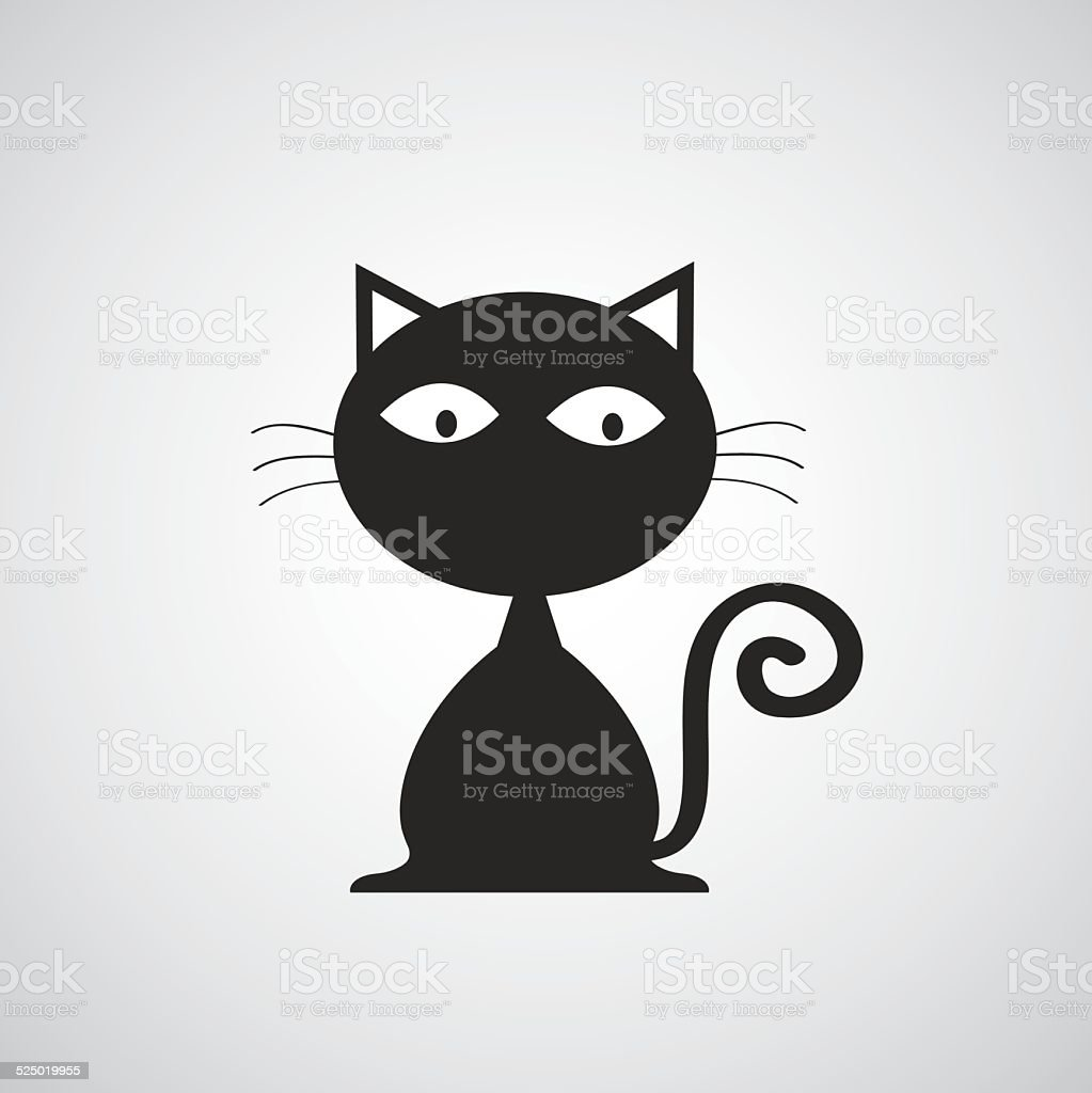 vector black cat cartoon vector art illustration