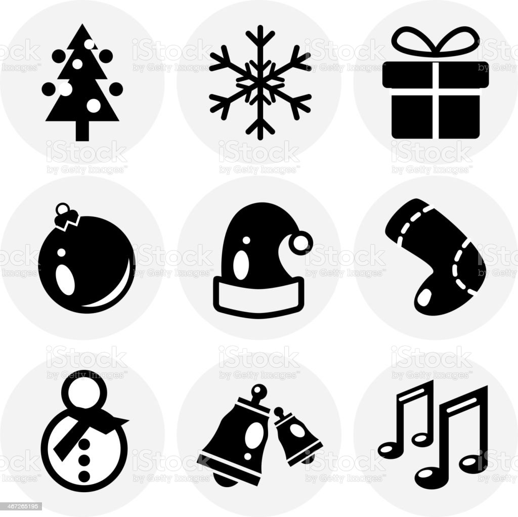Vector black Christmas icons. Icon set royalty-free stock vector art