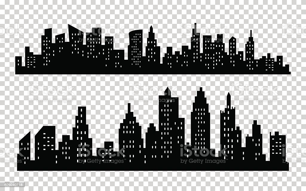 Vector black city silhouette icon set isolated on white background vector art illustration