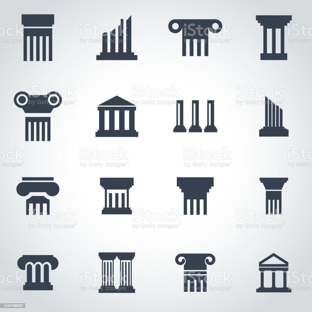Vector black column icon set vector art illustration