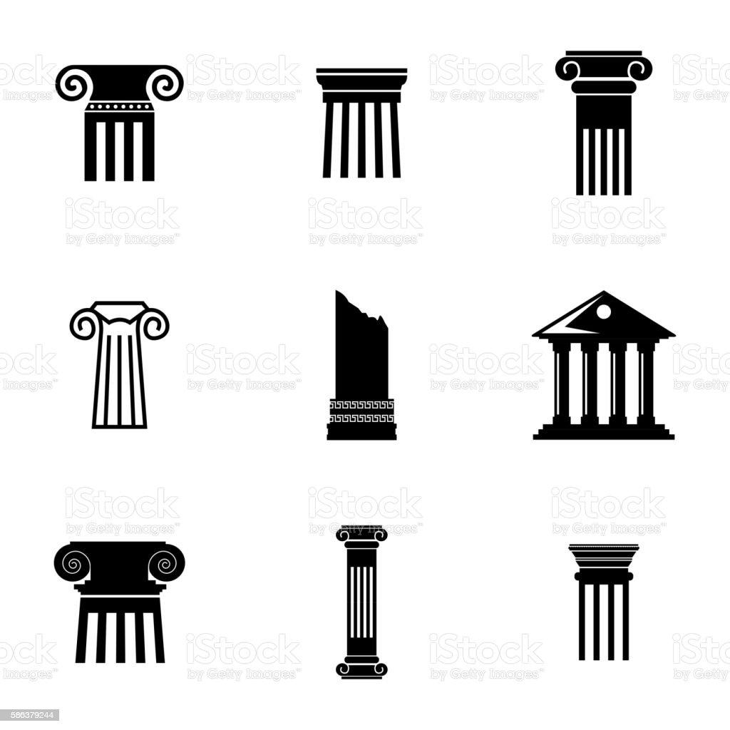 Vector black column icons set vector art illustration