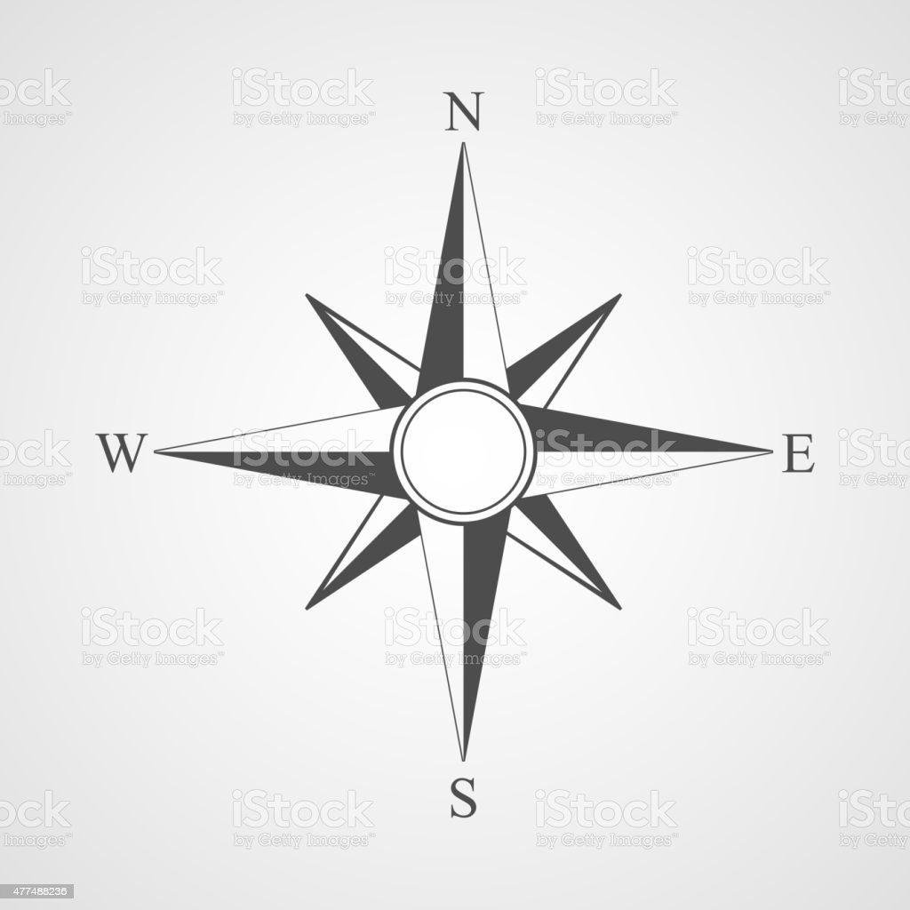Vector black compass icon. vector art illustration