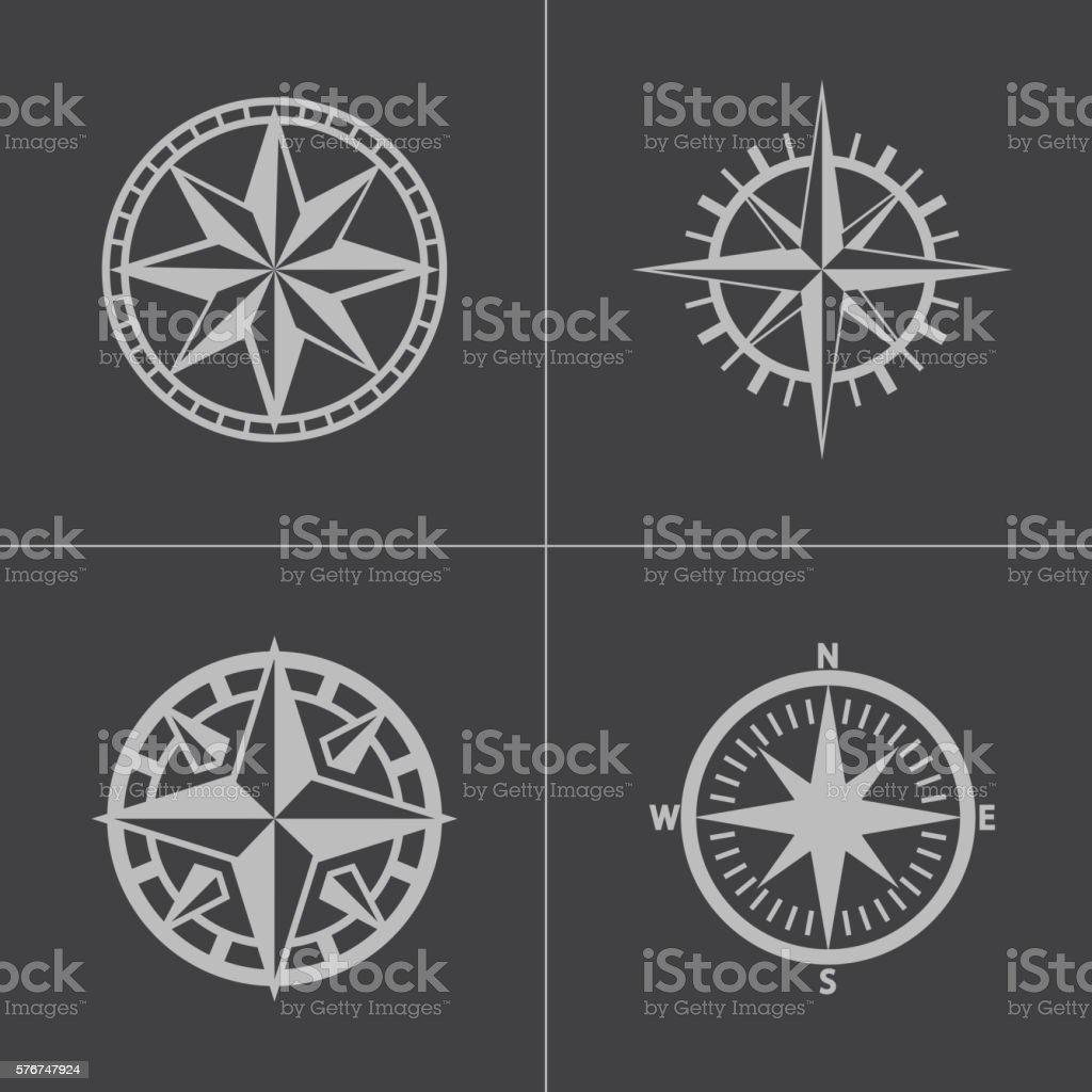 Vector black compass icons set vector art illustration