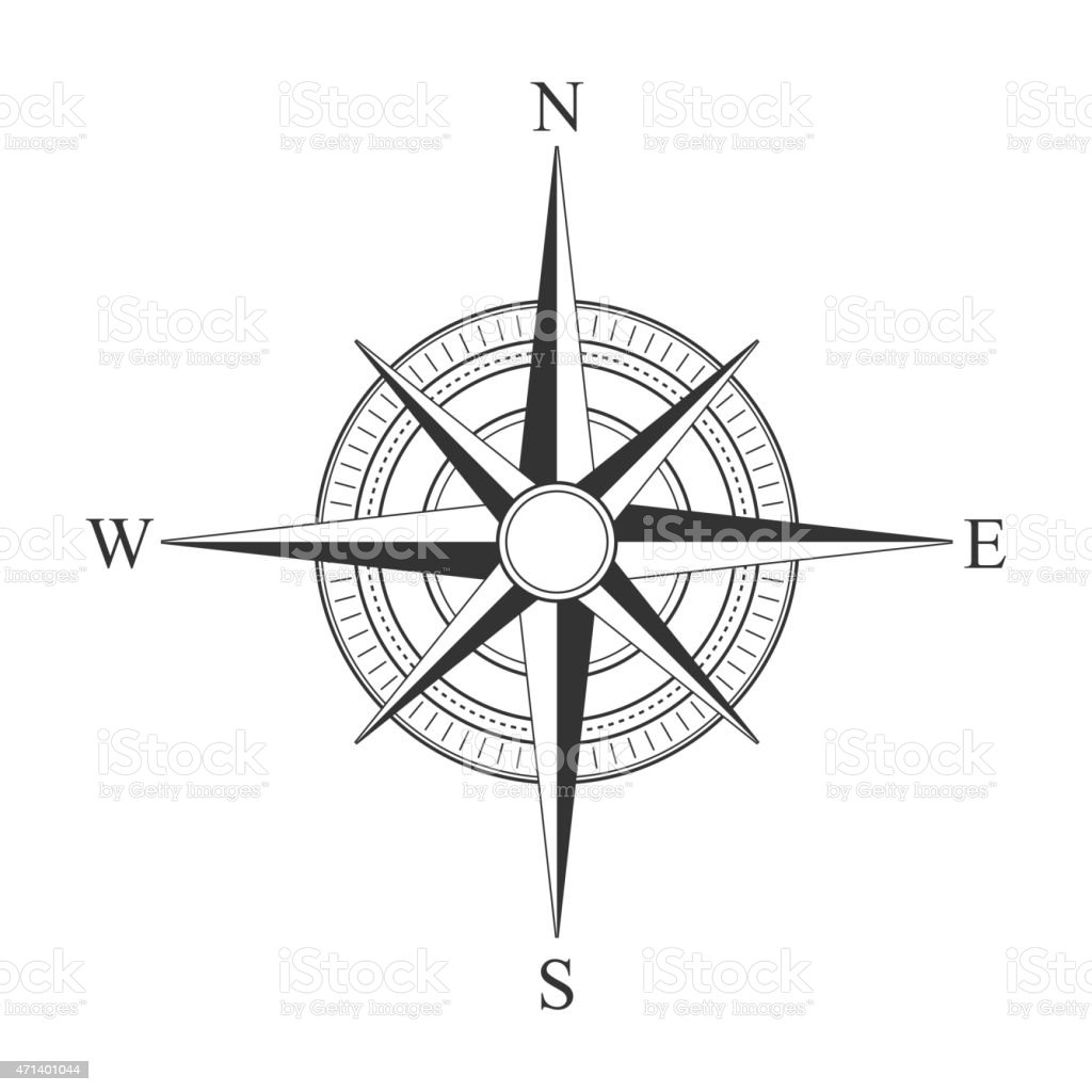 Vector black compass icons. vector art illustration
