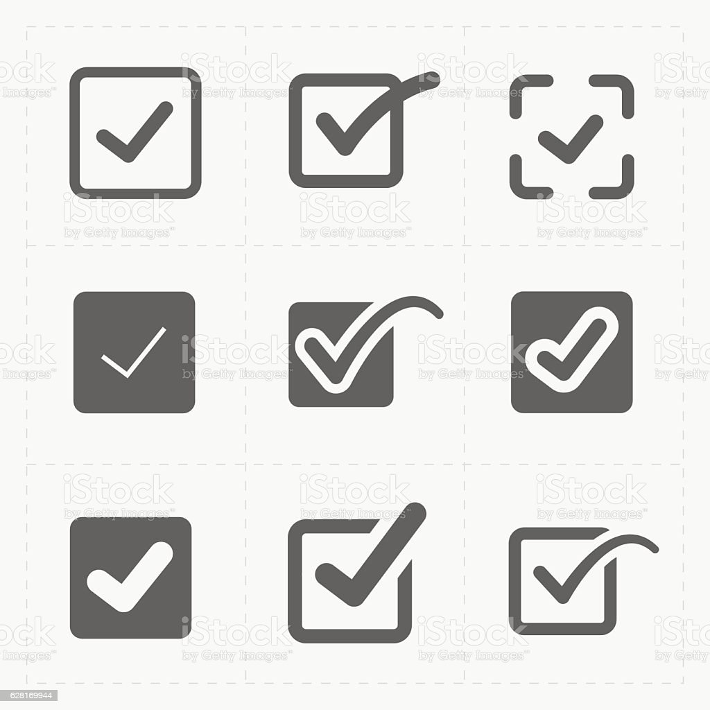 Vector black confirm icons set vector art illustration