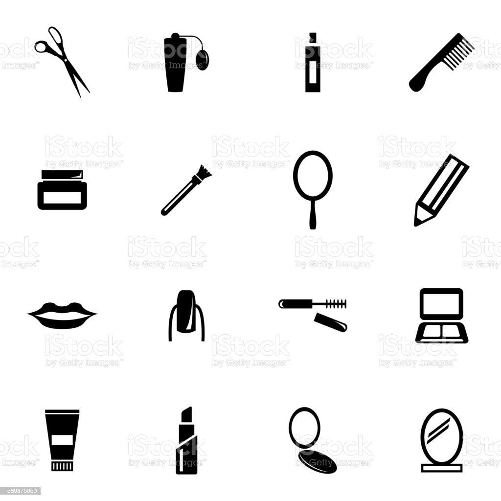 Vector black  cosmetics  icons set vector art illustration