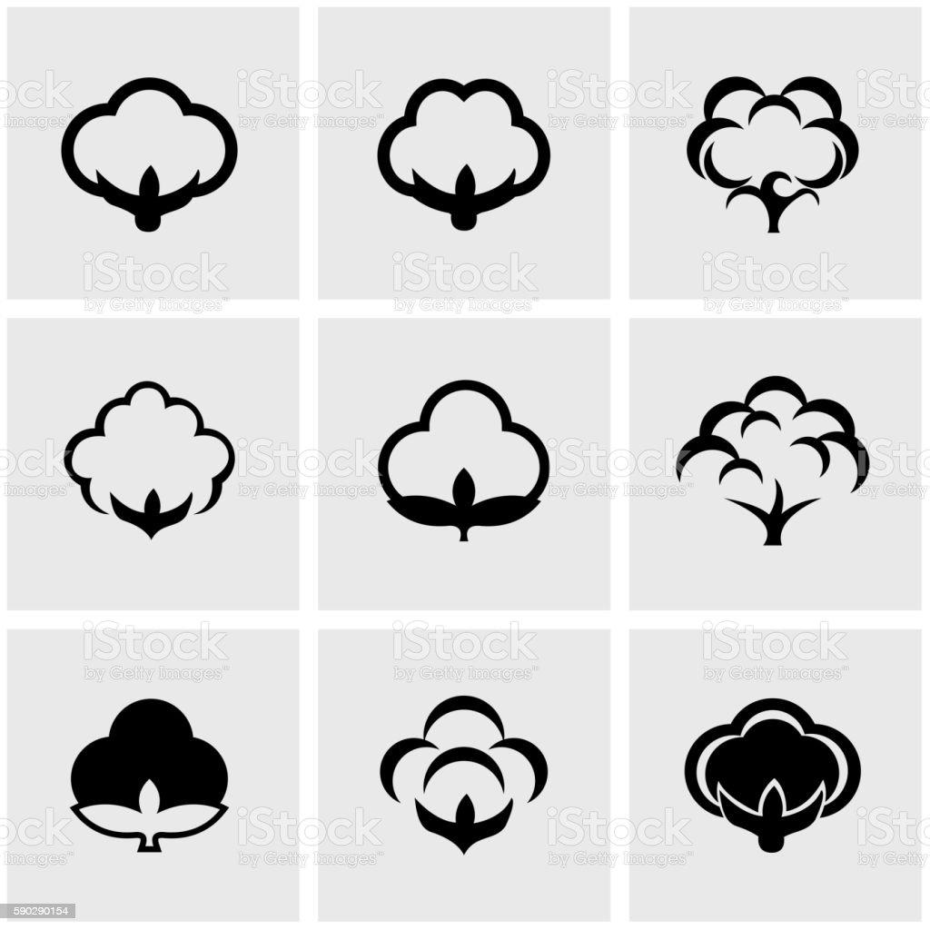 Vector black cotton icon set vector art illustration