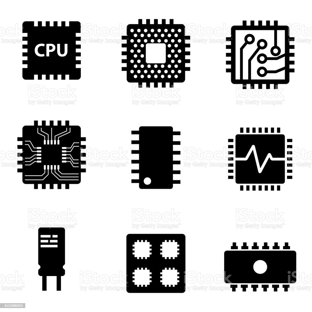 Vector black CPU microprocessor and chips icons set vector art illustration