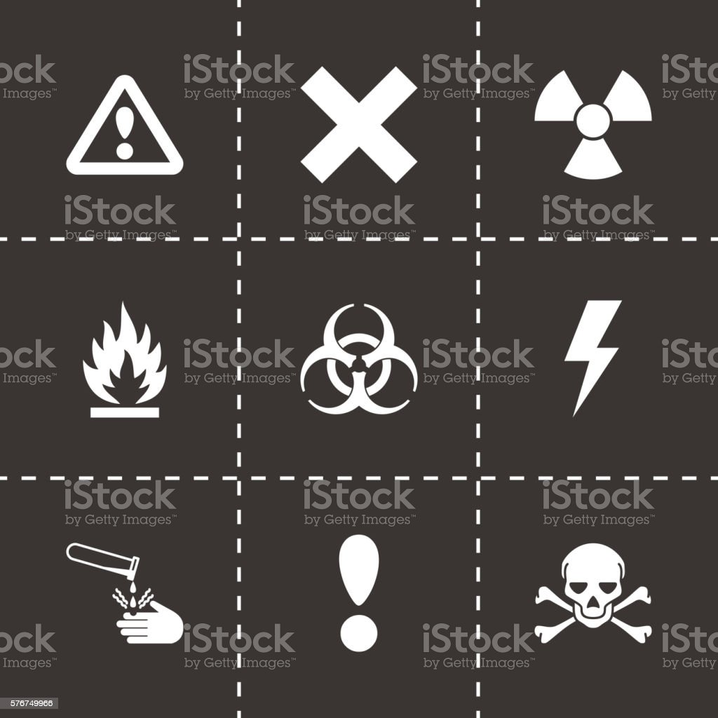 Vector black danger icon set vector art illustration