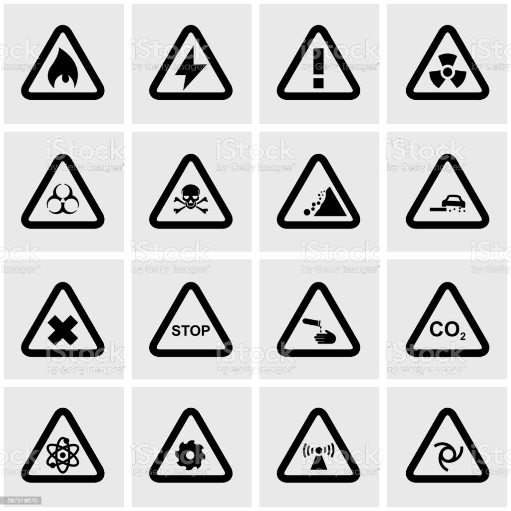 Vector black danger icon set vector art illustration