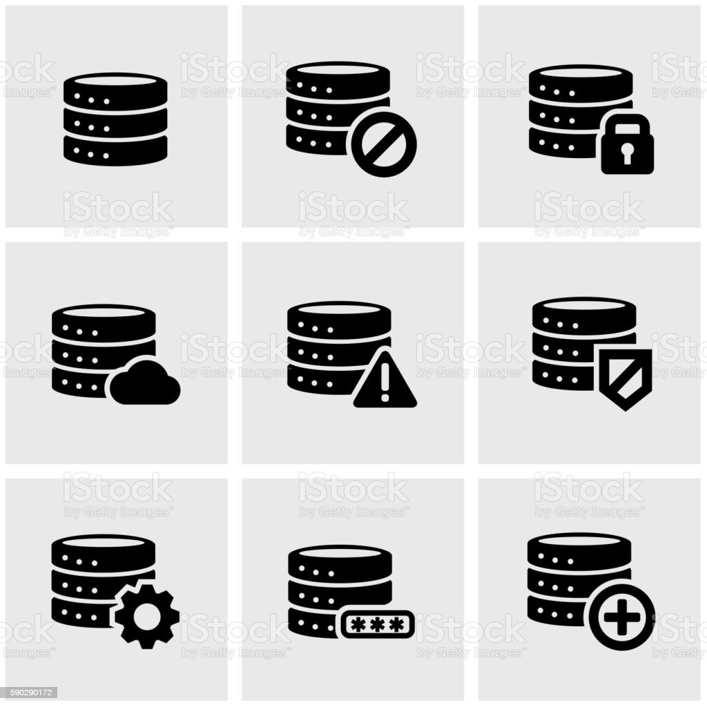 Vector black database icon set vector art illustration