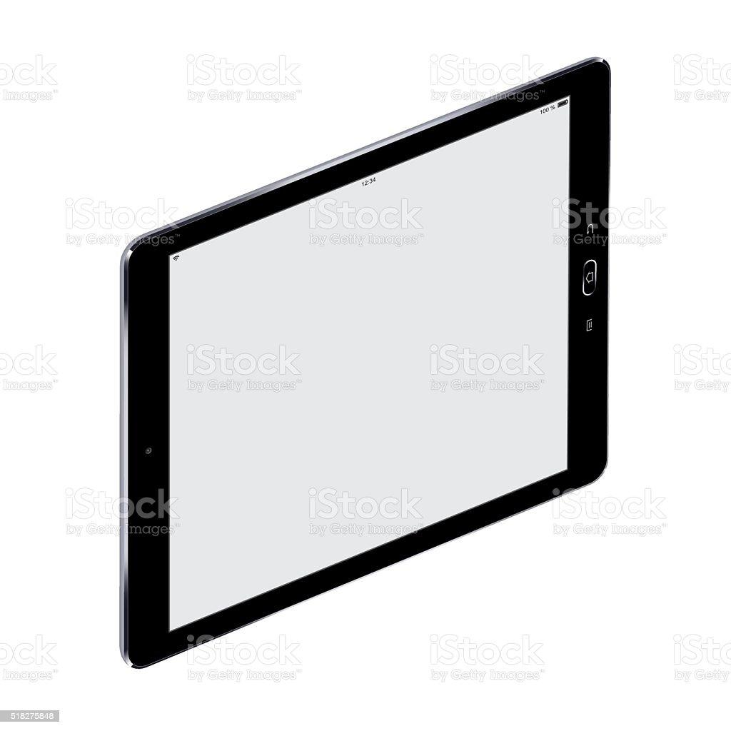 Vector Black Digital Tablet with blank screen vector art illustration