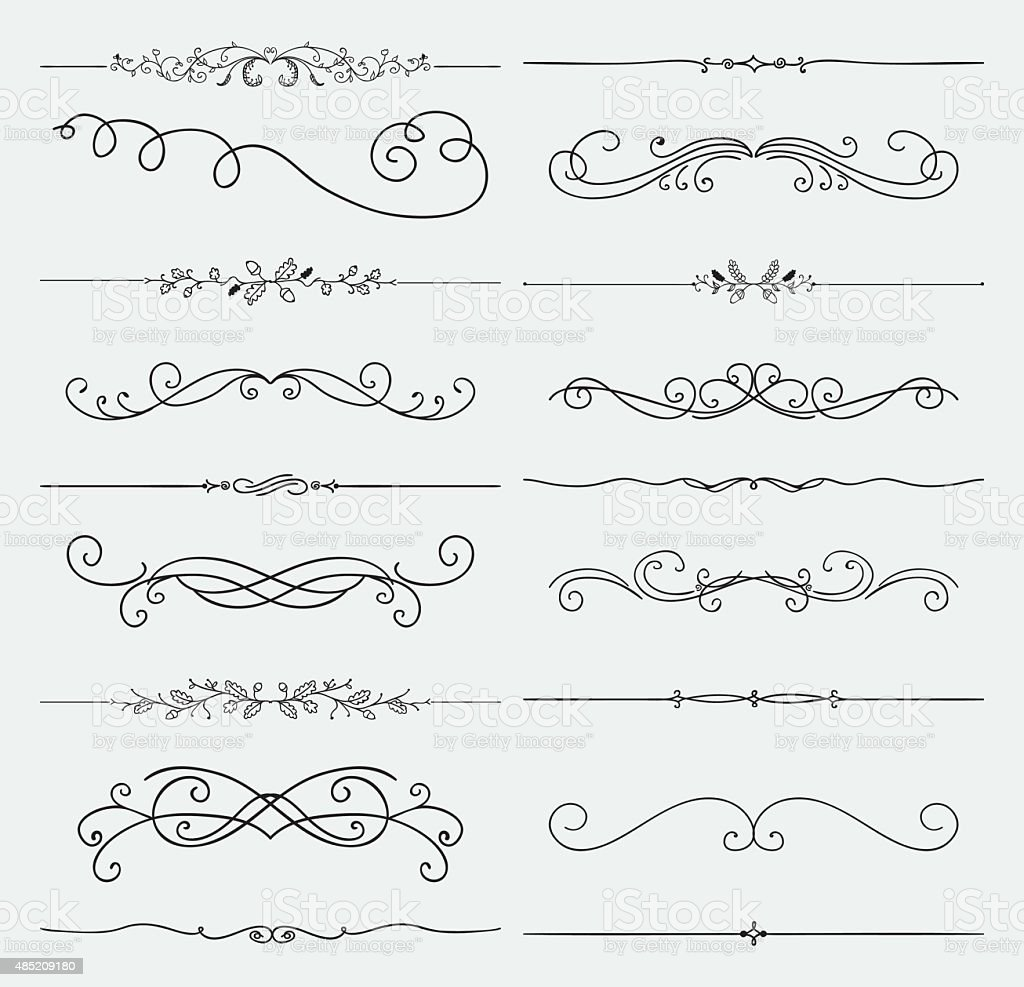 Vector Black Doodle Hand Drawn Swirls Collection vector art illustration
