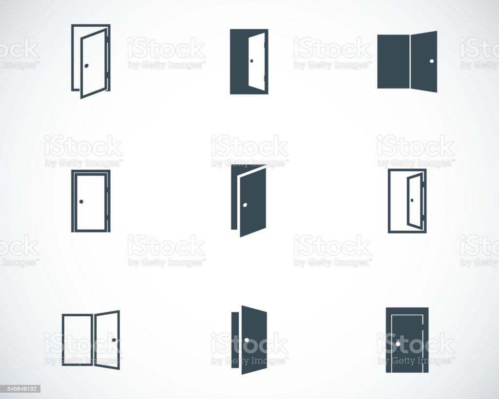 Vector black door icons set vector art illustration