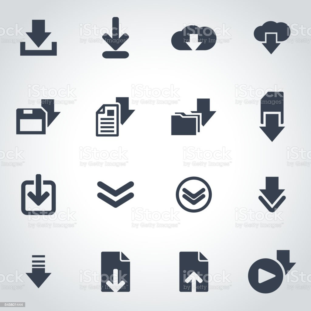 Vector black download  icon set vector art illustration