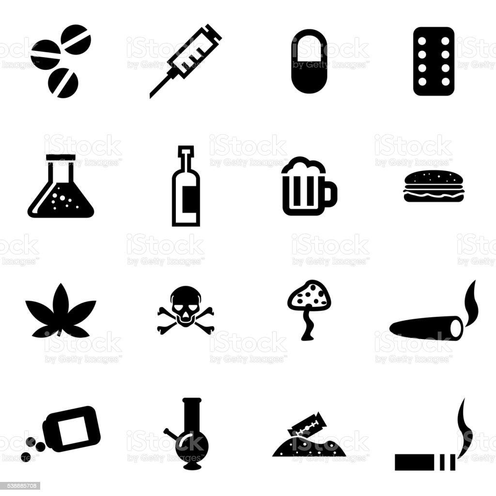 Vector black drugs  icon set vector art illustration