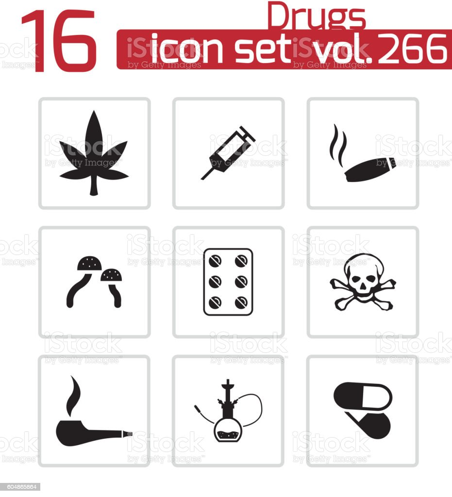 Vector black drugs icons set vector art illustration