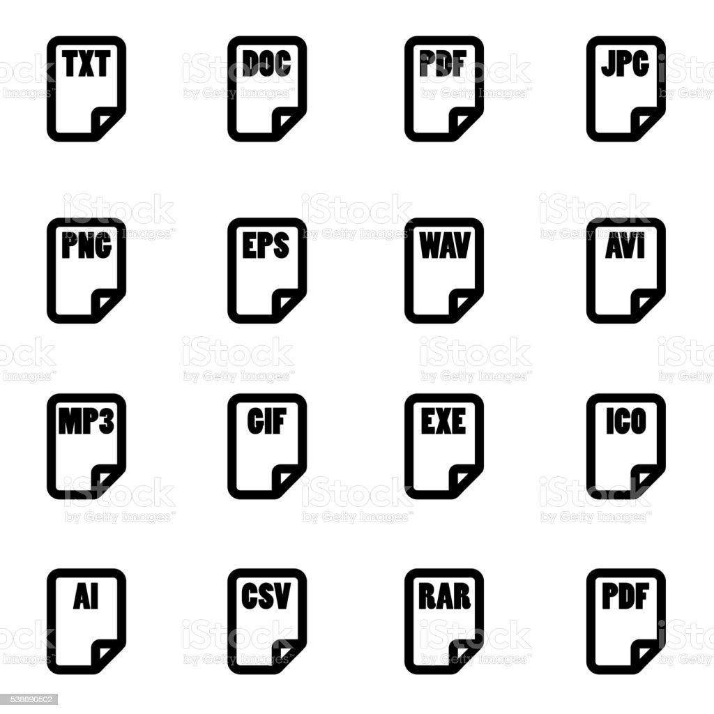 Vector black file type icon set vector art illustration