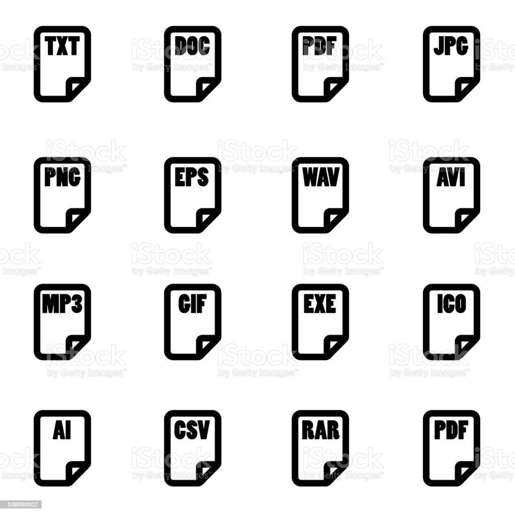 Vector black file type icon set vector art illustration