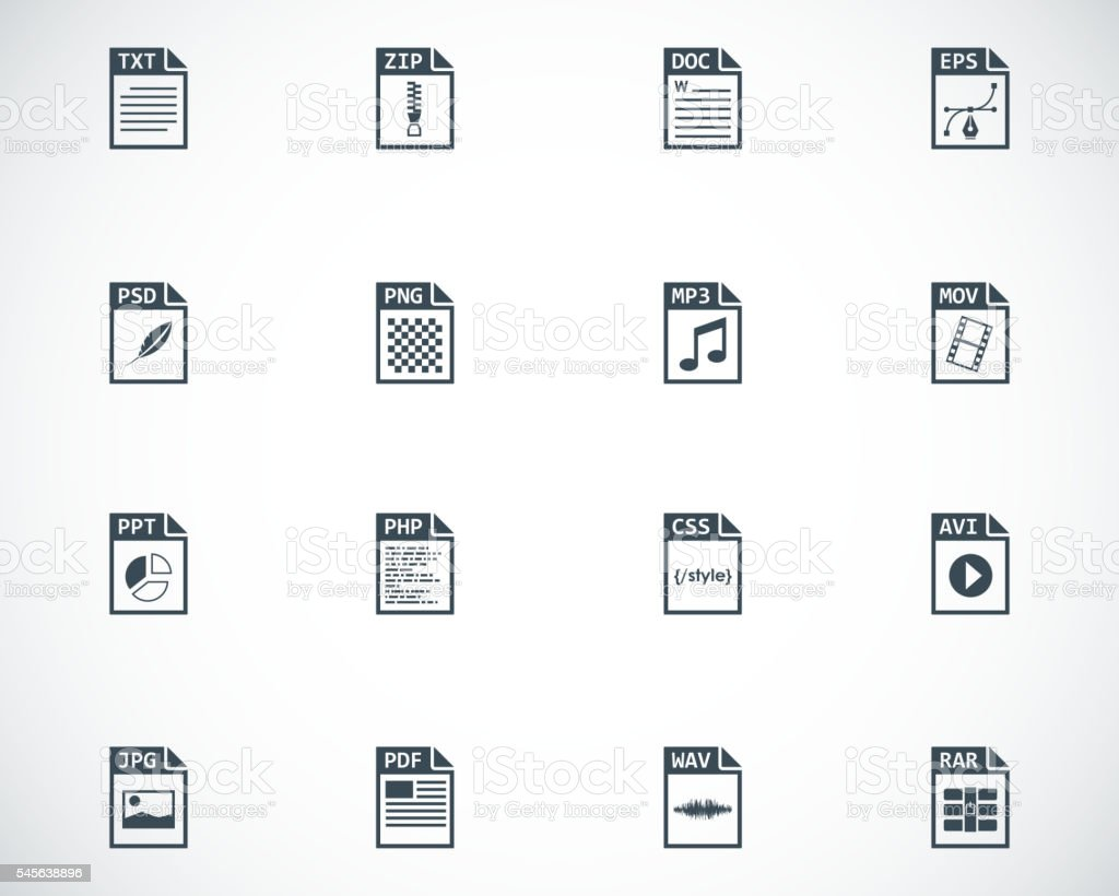 Vector black file type icons set vector art illustration
