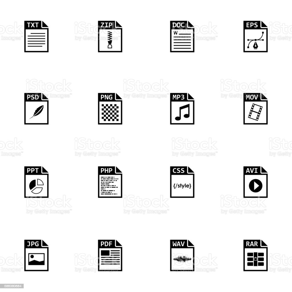 Vector black file type icons set vector art illustration