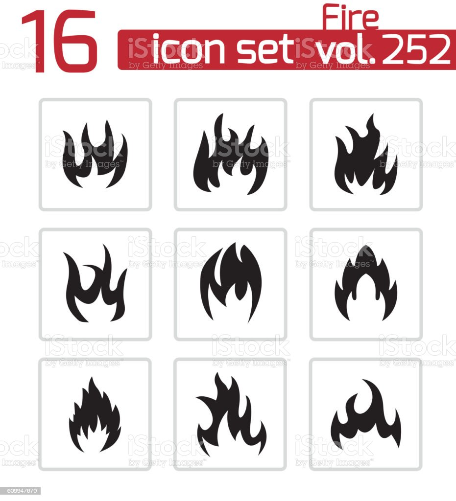 Vector black fire icons set vector art illustration