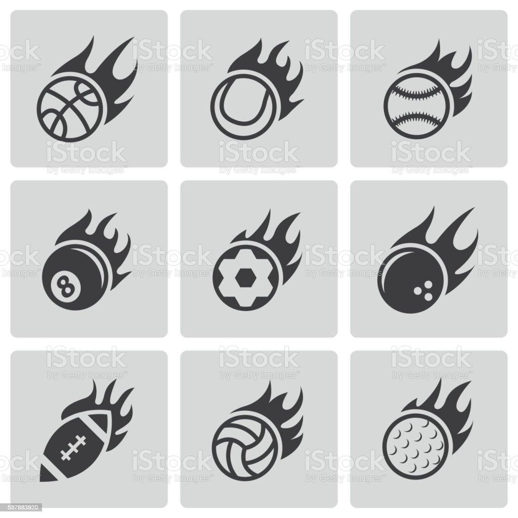 Vector black fire sport balls icons set vector art illustration