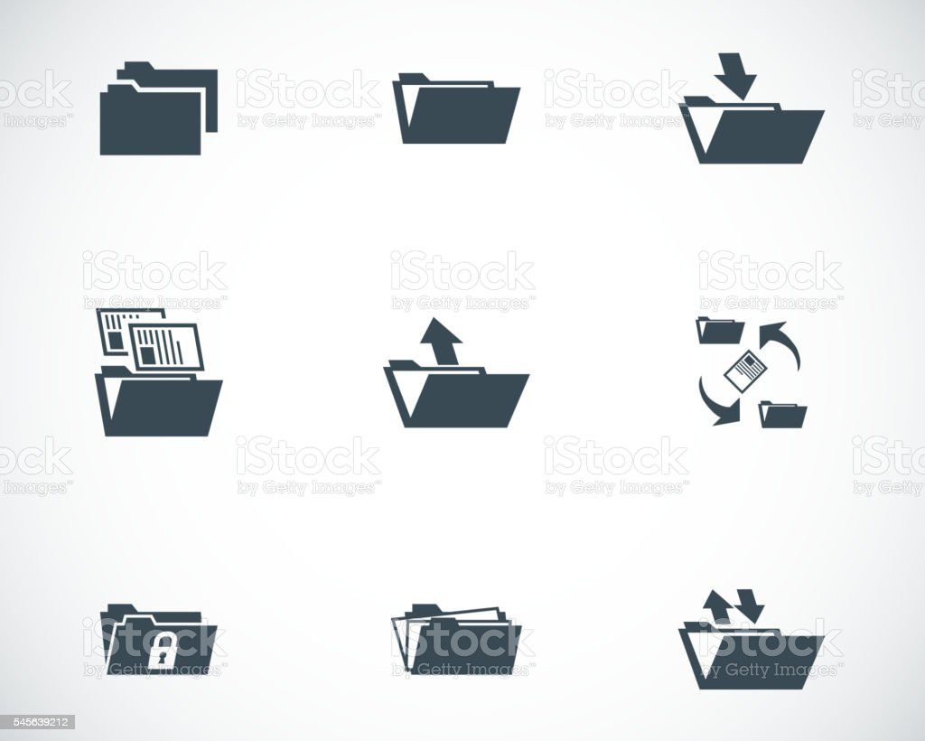 Vector black folder icons set vector art illustration