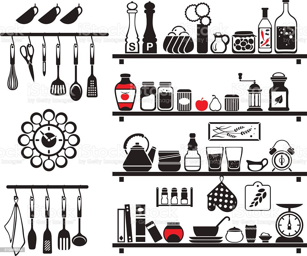 Vector black food and drinks icons set vector art illustration