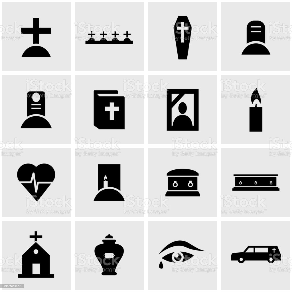 Vector black funeral icon set vector art illustration