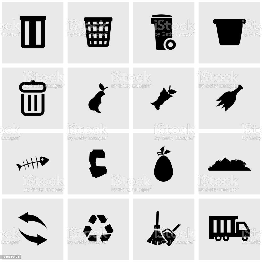 Vector black garbage icon set vector art illustration