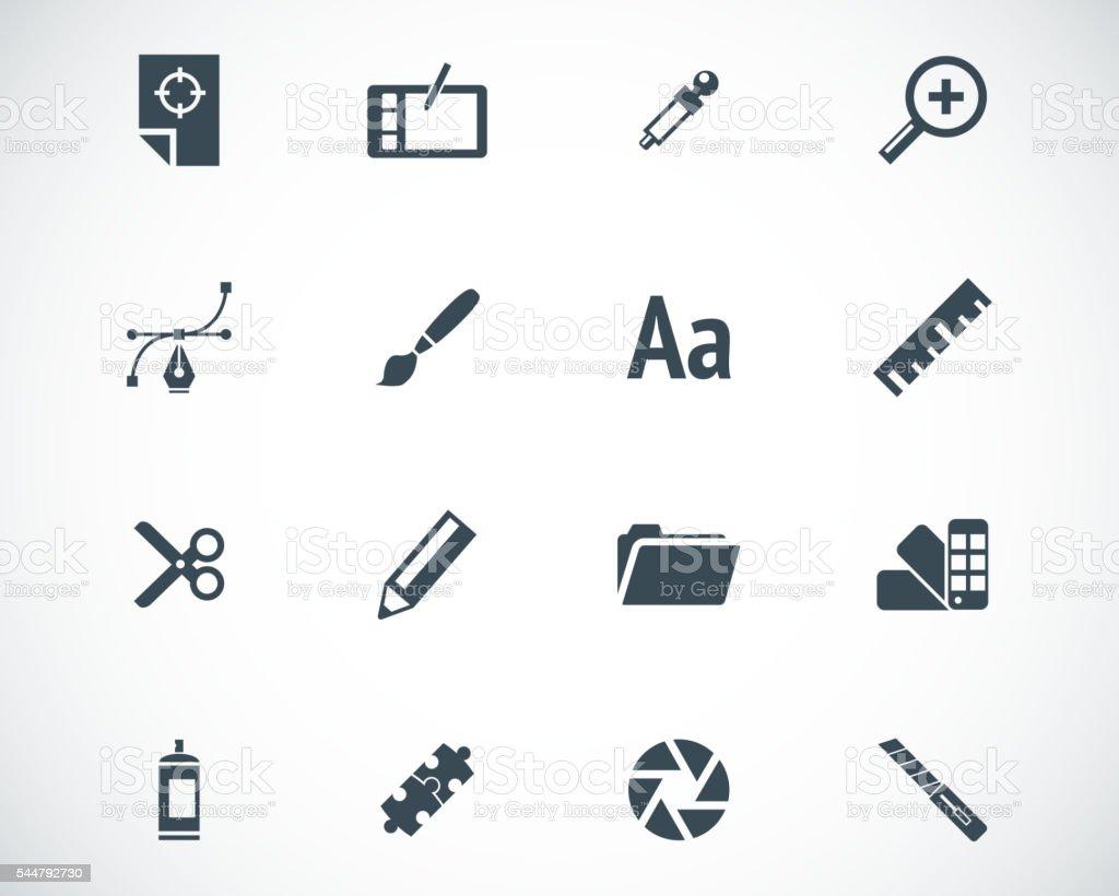 Vector black  graphic design  icons set vector art illustration