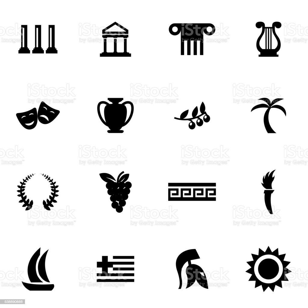 Vector black greece icon set vector art illustration