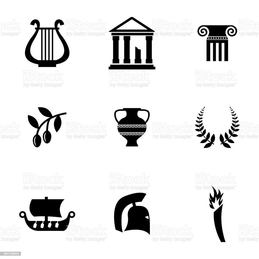 Vector black greece icons set vector art illustration