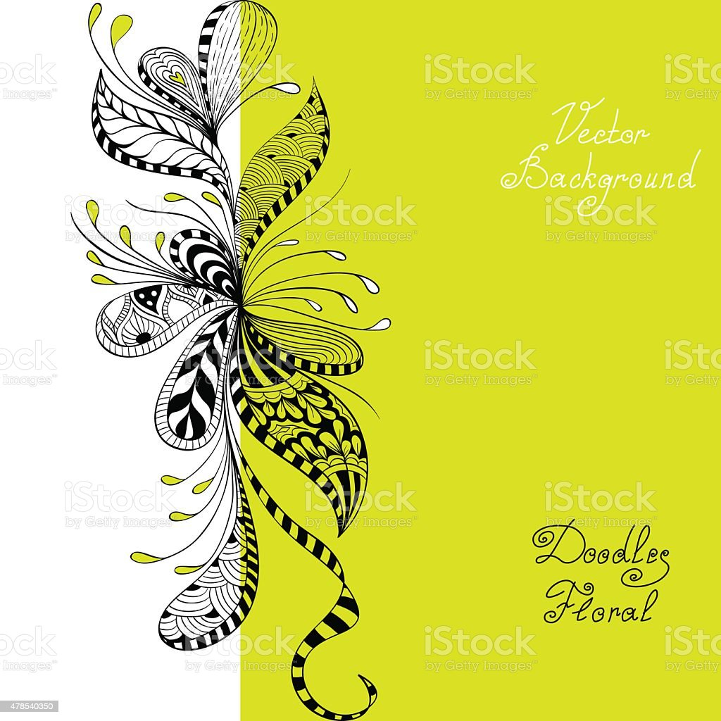 vector black, green and white floral pattern vector art illustration