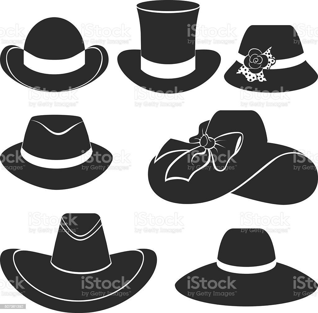 vector black hats icons set vector art illustration