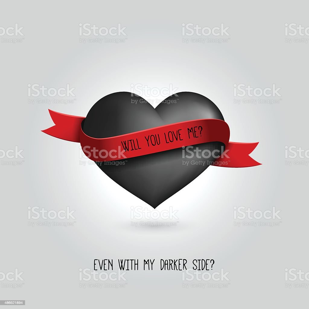 Vector black heart with red ribbon and love quotation. Love vector art illustration