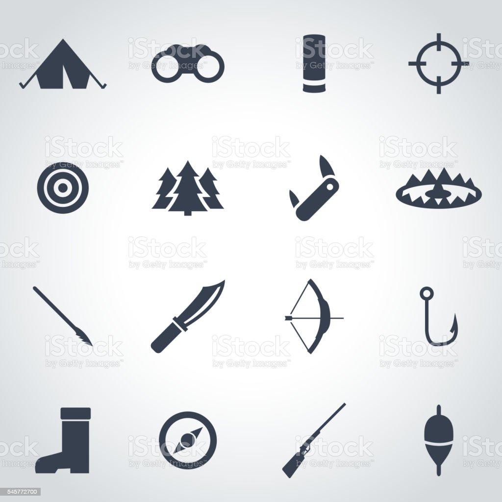 Vector black hunting icon set vector art illustration