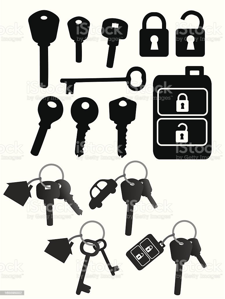 Vector black icons of keys, locks, and key chains on white vector art illustration