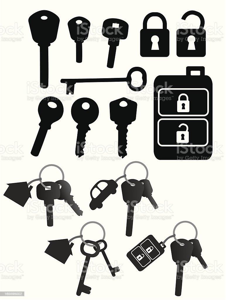 Vector black icons of keys, locks, and key chains on white vector art illustration