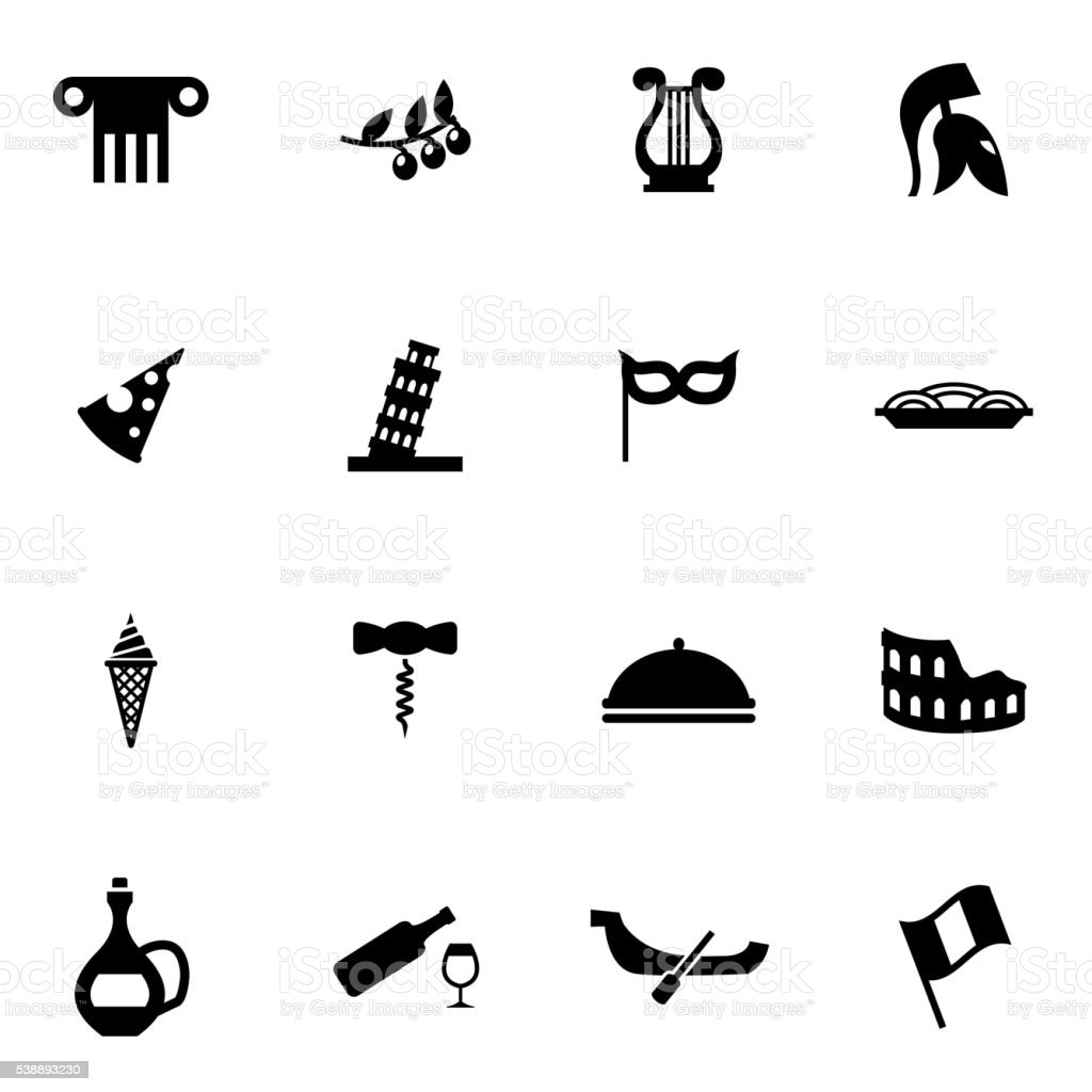 Vector black italian icon set vector art illustration