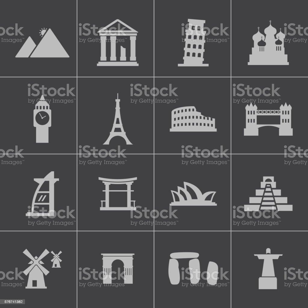 Vector black landmark icons set vector art illustration