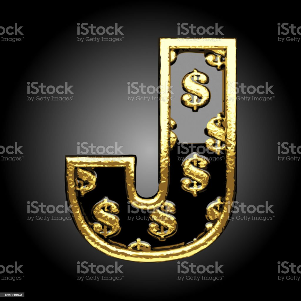 Vector black letter j with dollars royalty-free stock vector art