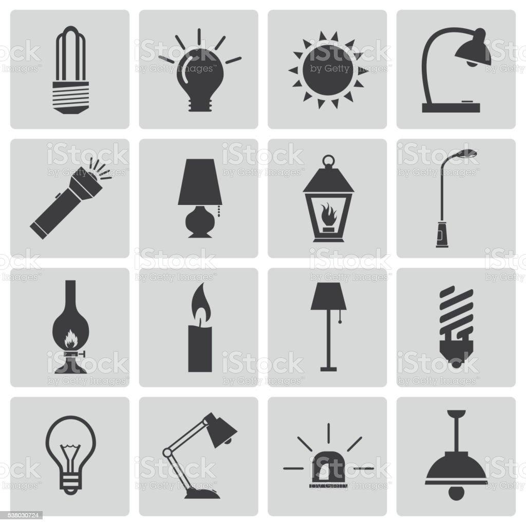 Vector Black Light Icons Set vector art illustration