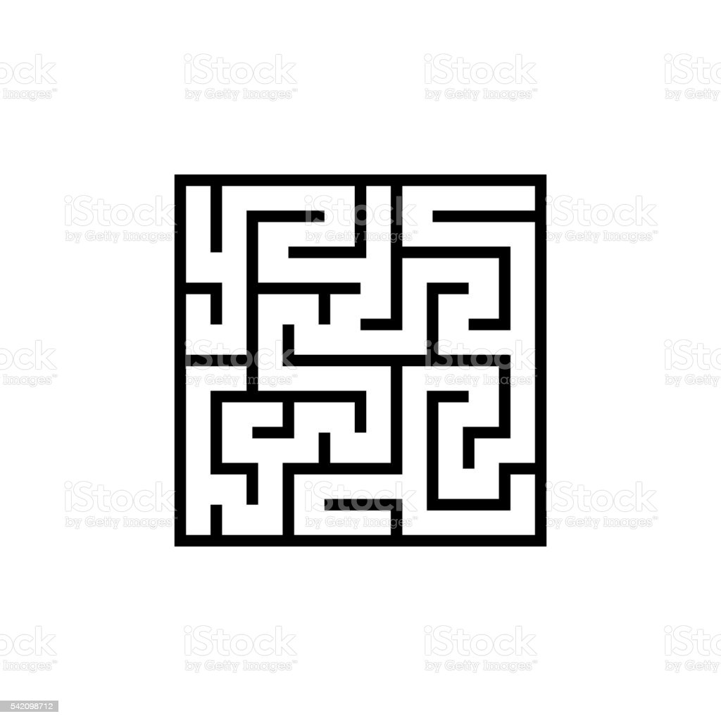 Vector black line maze icon vector art illustration