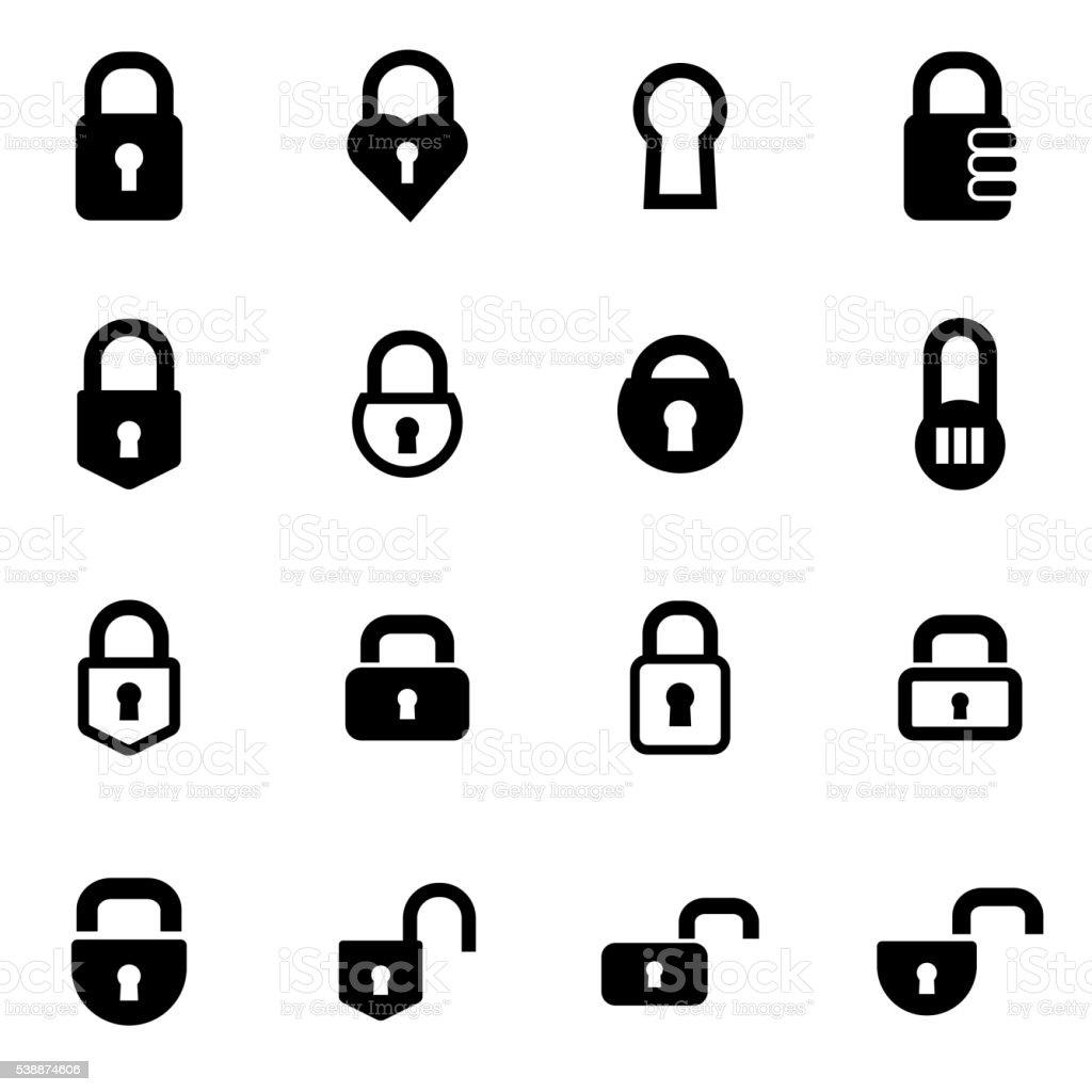 Vector black locks icon set vector art illustration