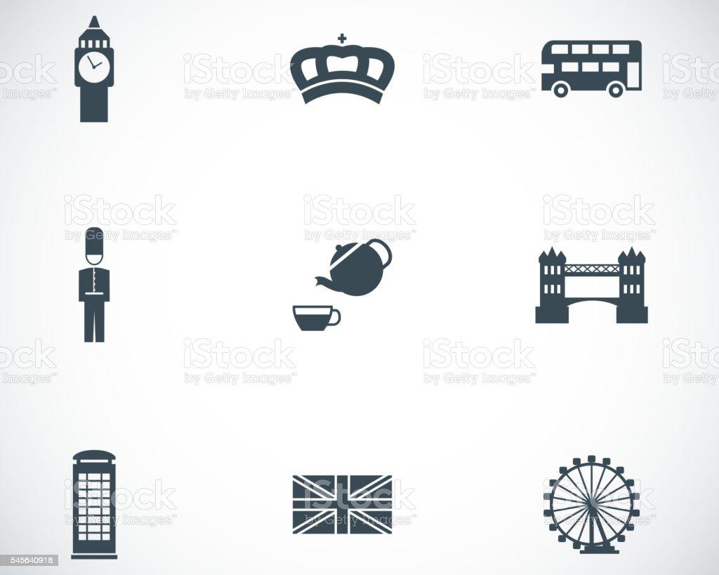 Vector black london icons set vector art illustration