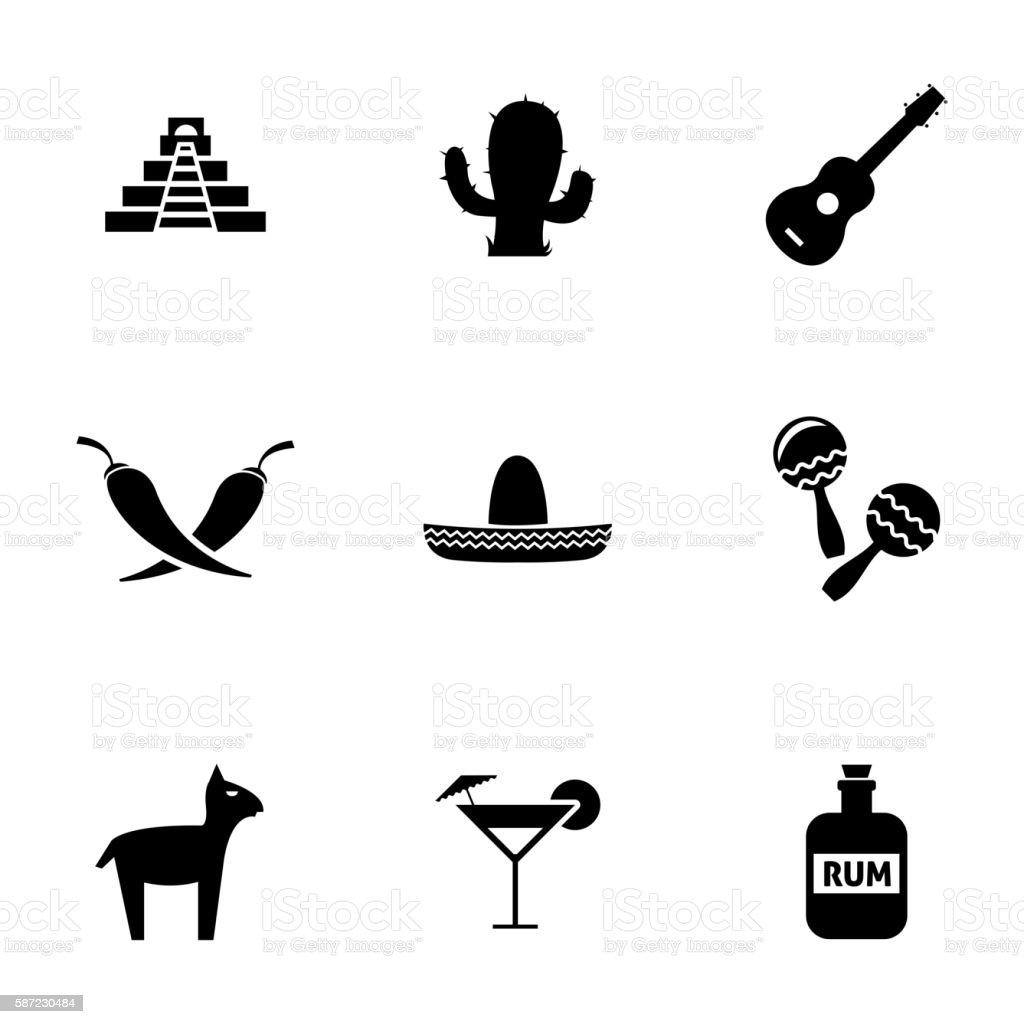 Vector black mexico icons set vector art illustration