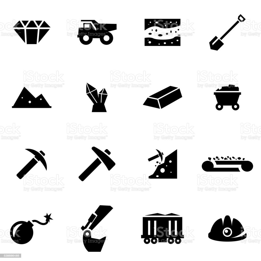 Vector black mining icon set vector art illustration