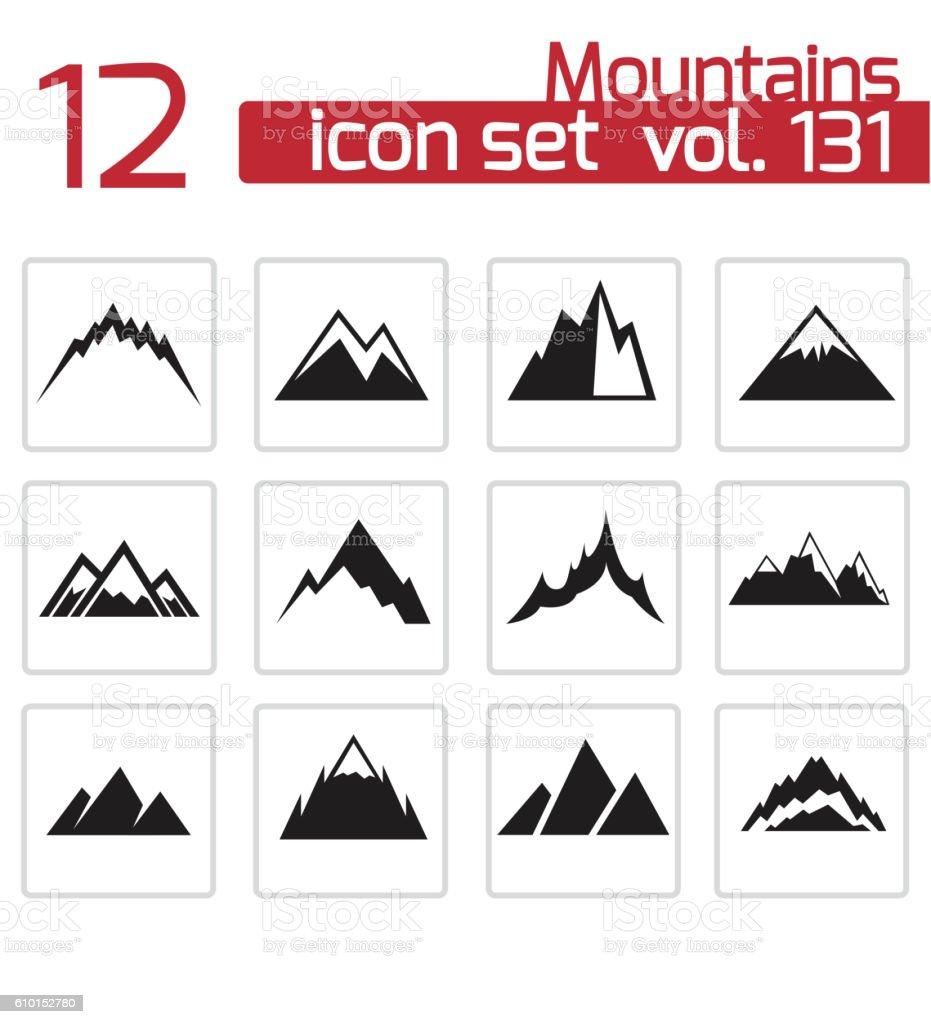 Vector black mountains icons set vector art illustration
